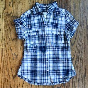 H&M Blue/White Plaid Short Sleeve Button Shirt